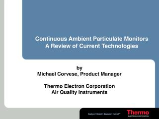 continuous ambient particulate monitors a review of current technologies