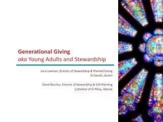 Generational Giving  aka Y oung Adults and Stewardship