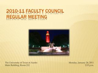 2010-11 Faculty Council Regular Meeting