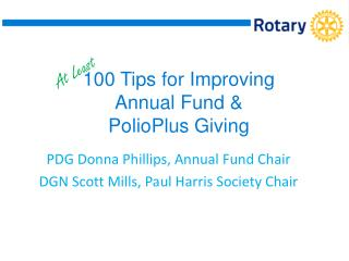 100 Tips for Improving Annual Fund &  PolioPlus Giving