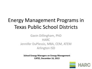 Energy Management Programs in Texas Public School Districts
