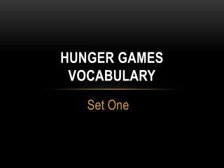 Hunger Games Vocabulary