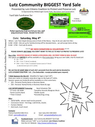 Lutz Community BIGGEST Yard Sale     Presented by Lutz Citizen s  Coalition to Protect and Preserve Lutz