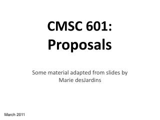 CMSC 601: Proposals