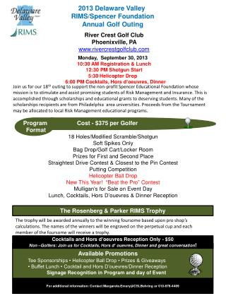 2013 Delaware Valley  RIMS/Spencer Foundation Annual Golf Outing