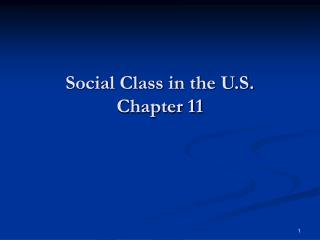 Social Class in the U.S.  Chapter 11