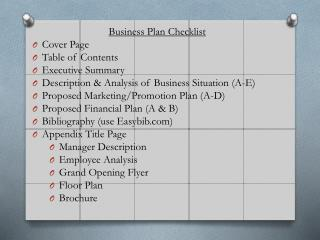 Business Plan  Checklist Cover Page  Table of Contents Executive Summary Description & Analysis of Business  Situation