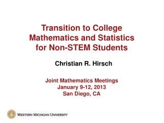 Transition to College Mathematics and Statistics for Non-STEM Students