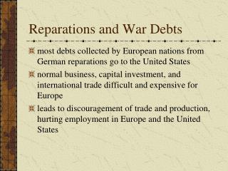 Reparations and War Debts