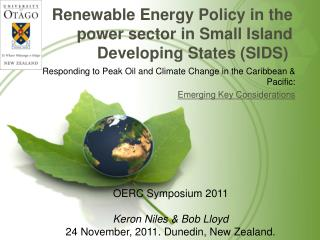 Renewable Energy Policy in the power sector in Small Island Developing States (SIDS)