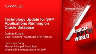 Technology Update for SAP Applications Running on Oracle Database