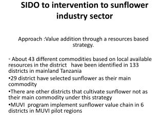 SIDO  to intervention to sunflower industry sector
