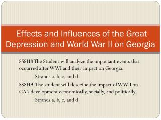 Effects and Influences of the Great Depression and World War II on Georgia