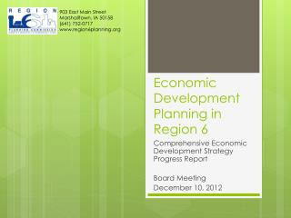 Economic Development Planning in Region 6