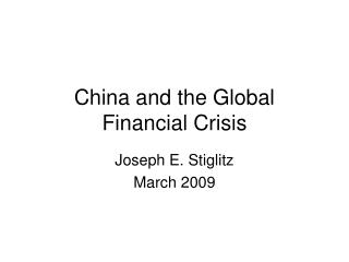 China  and the Global Financial Crisis