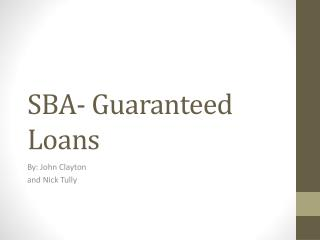 SBA- Guaranteed Loans