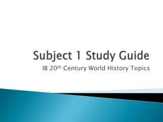 Subject 1 Study Guide