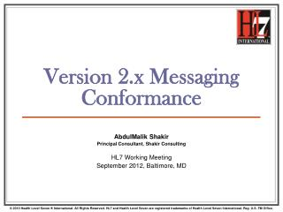 Version 2.x Messaging Conformance