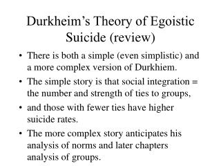 durkheim s theory of egoistic suicide review