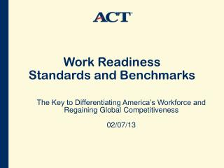 Work Readiness  Standards and Benchmarks