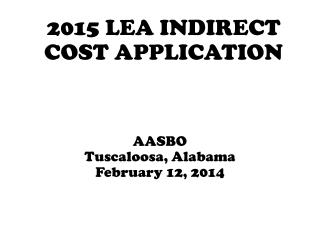 2015  LEA INDIRECT COST APPLICATION