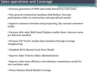 Sales operations and Coverage