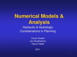 Numerical Models & Analysis