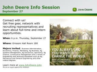 John Deere Info Session  September 27