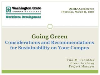 Going Green  Considerations and Recommendations for Sustainability on Your Campus