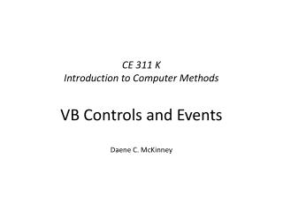 CE 311 K Introduction to Computer Methods