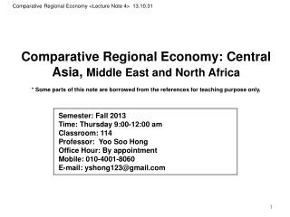 Comparative Regional Economy : Central Asia,  Middle East and North Africa