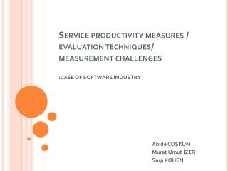 Service productivity measures / evaluation techniques/ measurement challenges