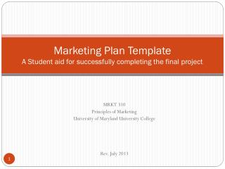 Marketing Plan Template A Student aid for successfully completing the final project