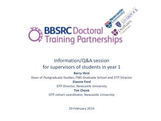 Information/Q&A session for supervisors of students in year 1  Barry Hirst Dean of Postgraduate Studies, FMS Graduate S