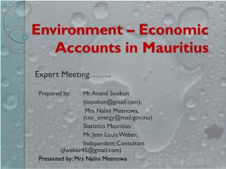 Environment – Economic Accounts in Mauritius