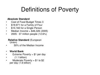 Definitions of Poverty
