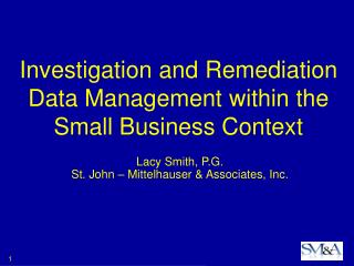 Investigation and Remediation Data Management within the Small Business Context