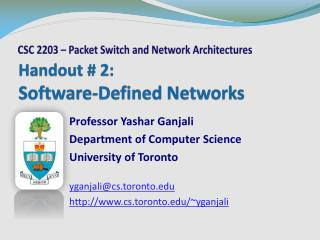Handout # 2: Software-Defined Networks