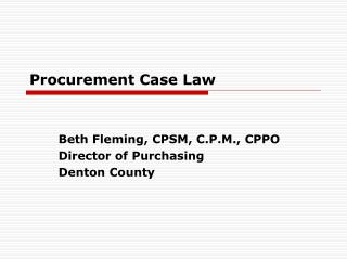 Procurement Case Law