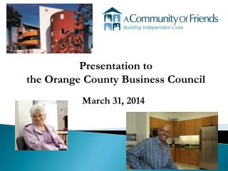 Presentation to the Orange County Business Council