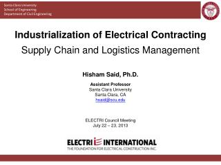 Industrialization of Electrical Contracting Supply Chain and Logistics Management
