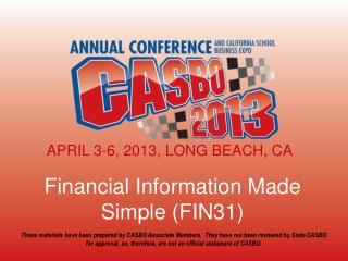 Financial Information Made Simple (FIN31)