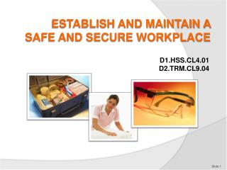 ESTABLISH AND MAINTAIN A  SAFE AND SECURE WORKPLACE
