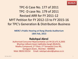MERC's Public Hearing at Rang  Sharda  Auditorium  18th Feb, 2013