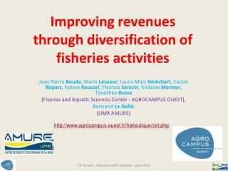 Improving revenues  through diversification of fisheries activities