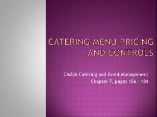 Catering Menu Pricing and Controls