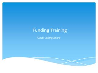 Funding Training