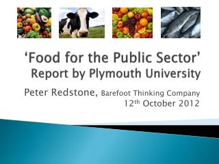 'Food  for  the  Public Sector'  Report by Plymouth University
