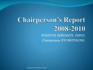Chairperson's Report 2008-2010