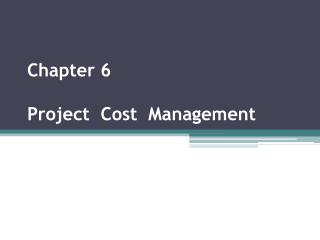 Chapter  6 Project   Cost   Management